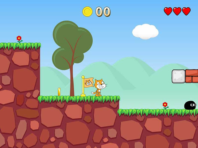 Screen shot from a 2D game made using scratch