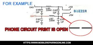 mobile phone circuit is open due to short circuit on between prints
