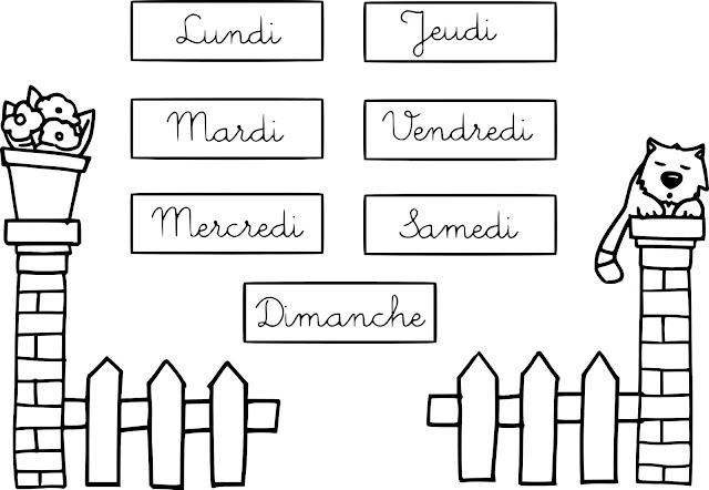 ايام الاسبوع بالفرنسي للتلوين