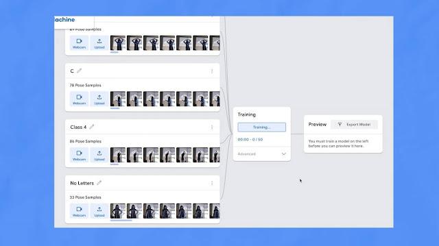 Google teachable machine learning model Human pose estimation Train The Model