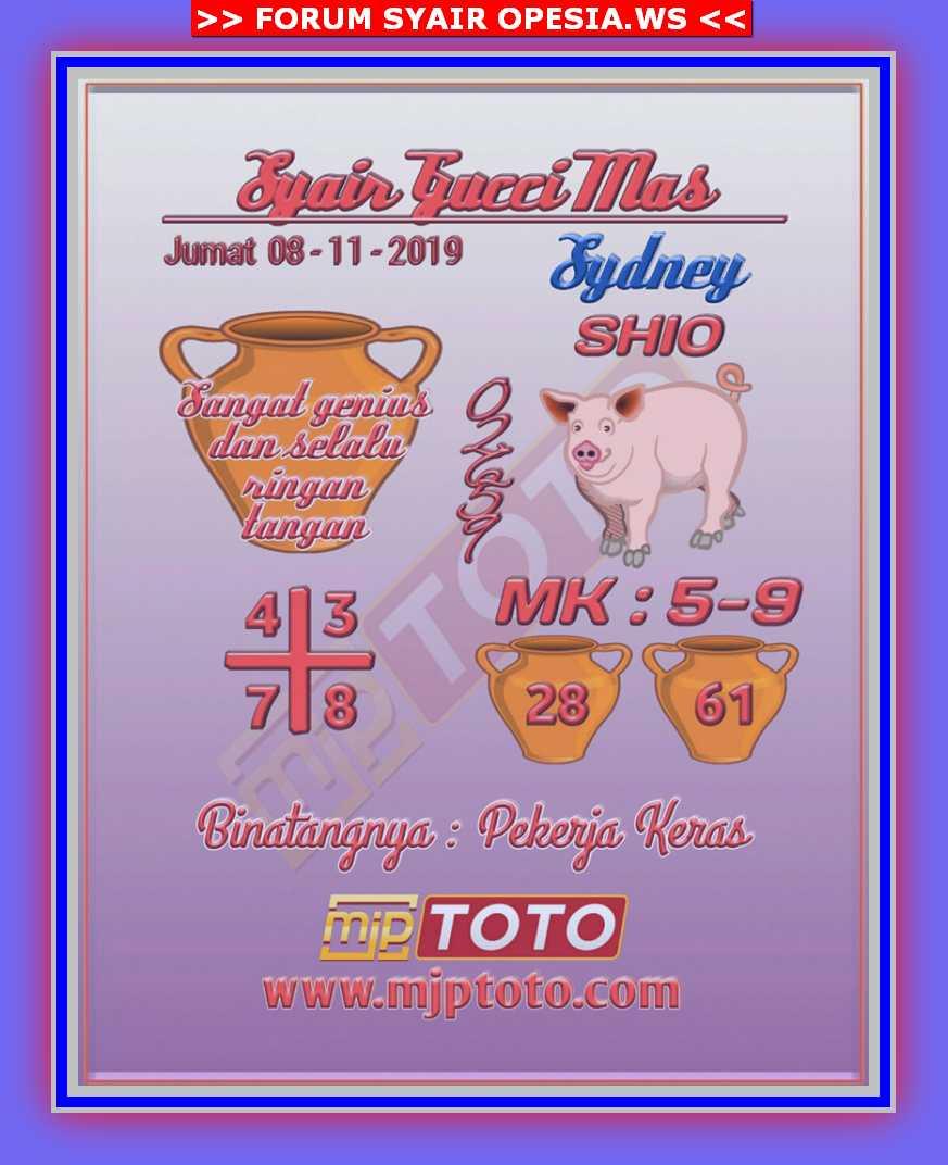 Kode syair Sydney Jumat 8 November 2019 8