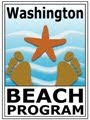 Illustration of Washington beach program moniker. Foot prints and starfish are in the foreground and an illustration of watery sand is in the background.