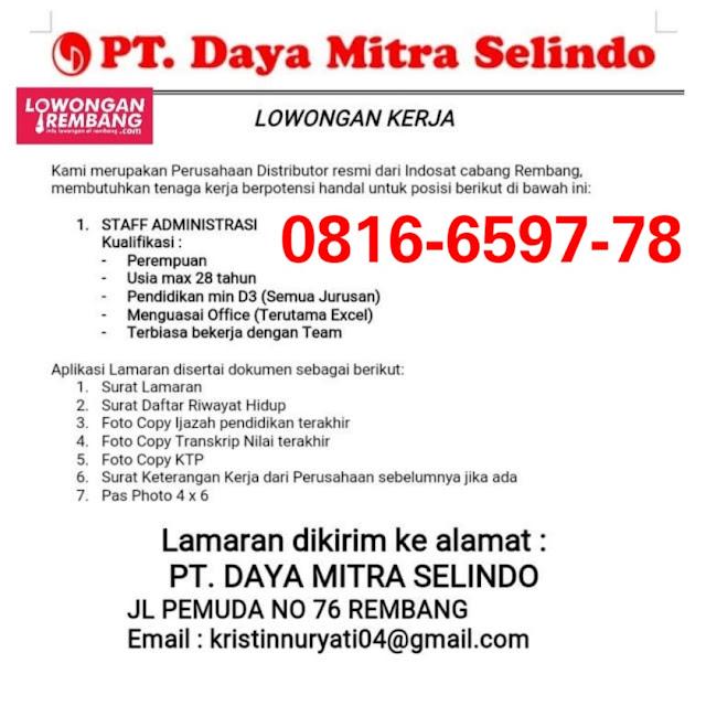 Lowongan Kerja Staff Administrasi PT Daya Mitra Selindo Indosat Ooredoo Rembang