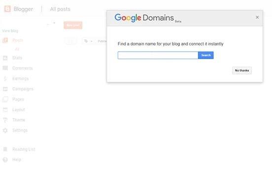 Popup Google Domains
