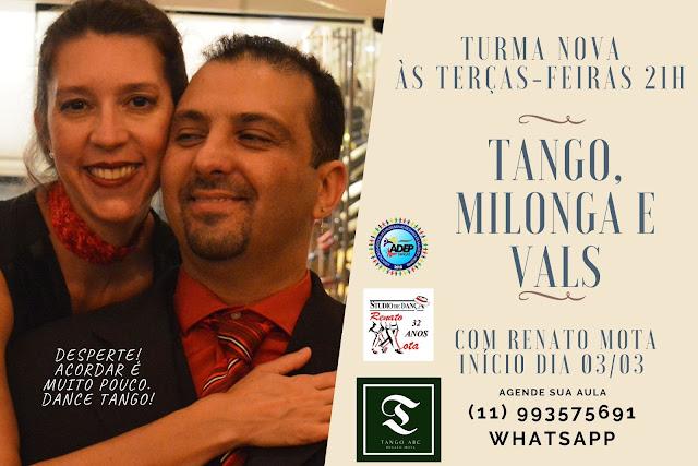 Novo dia e horário para nosso Curso de Tango, Milonga e Vals.