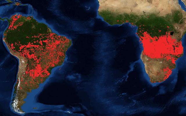 Compare a intensidade dos fogos da África. A mídia anti-brasileira silencia.