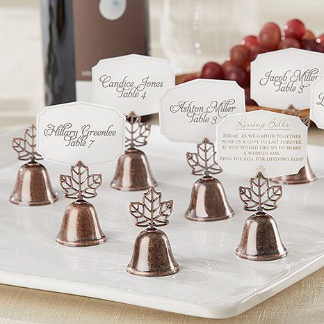 Fall Theme Wedding Kissing Bells Placecard Holder