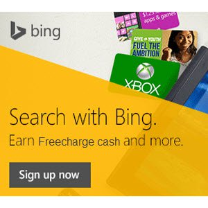 Freecharge Bing Rewards Search on Bing & Get Upto Rs.100 Freecharge Freefund Codes