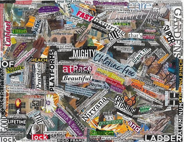 picture of cutout words from magazines arranged together to make an image
