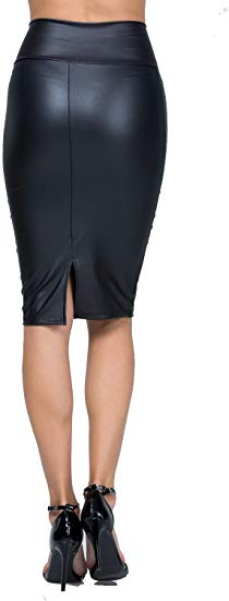 Faux Leather Bodycon Slim Knee-Length Pencil Skirt 37% discount