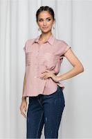 Camasa Irina roz prafuit cu dungi orizontale