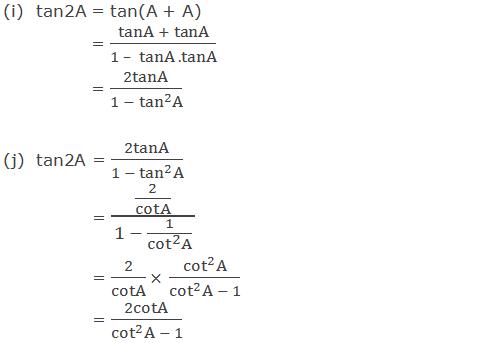 Trigonometric ratios of tan2A in terms of A