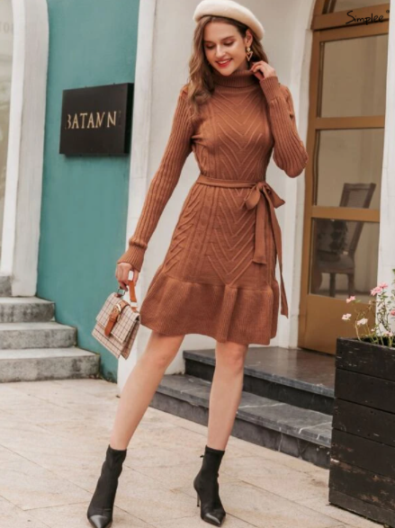 Rust Brown ruffle sweater dress