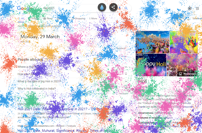 Two Beautiful Google Tricks - Happy Diwali and Happy Holi -