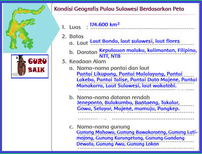 [Kondisi Geografis pulau Sulawesi berdasarkan peta].