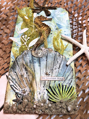 Sara Emily Barker https://sarascloset1.blogspot.com/ Sea Life Mixed Media Tag 6