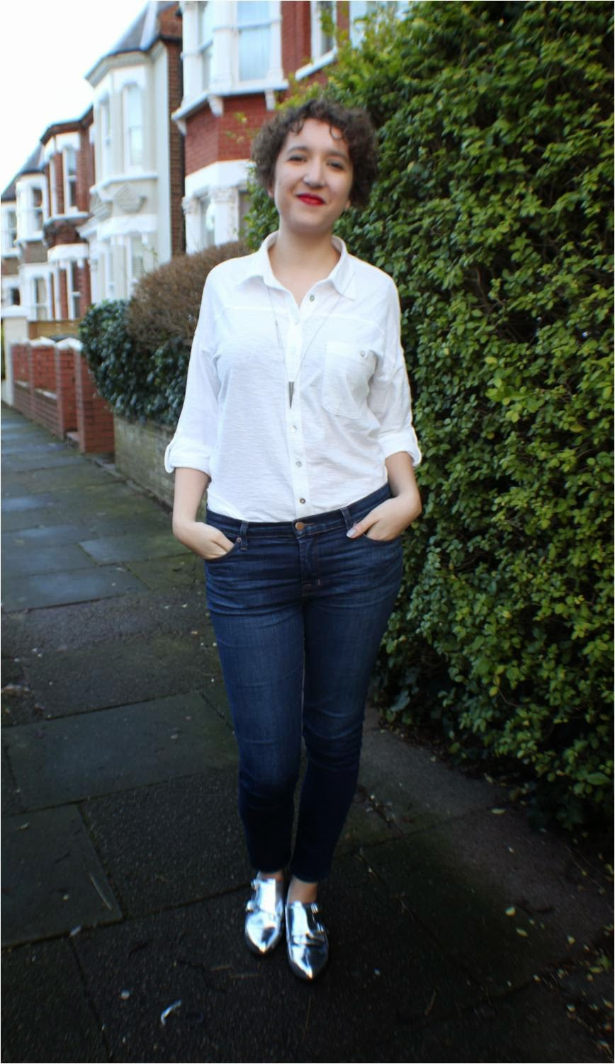 white shirt blue jeans silver brogues