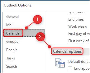 """إعدادات """"خيارات التقويم"""" في Outlook."""