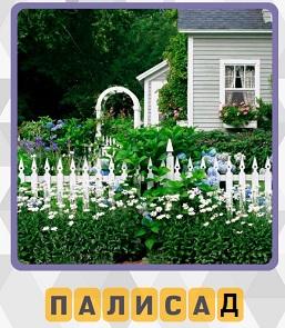 вокруг дома сделан палисад с белым забором