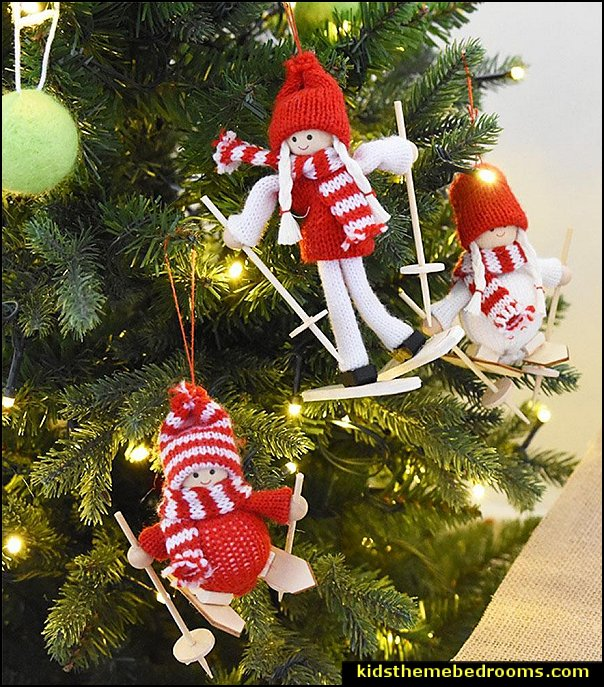 Ski Doll Christmas Tree Hanging Ornaments  skiing Christmas ornaments - ski decorations - ski Christmas ornaments - decorating Ski Snowboard themed Christmas tree - Winter Holiday - Skis - Ice Skates - snow sled  - winter theme decorations ski theme - ski party decorations - Winter Party Decorations  - party props -  stocking stuffers - gifts for skiers  - Snowflake and Icicle Ornaments