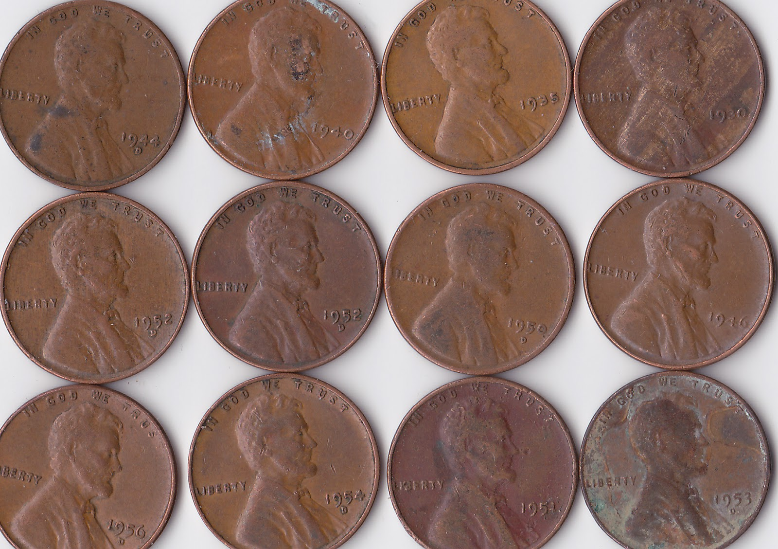 Old Coin Roll Hunting: Twelve Wheat Pennies I Found In A Box Of