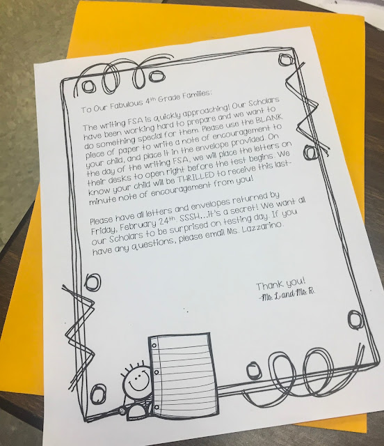 Parents received a Top Secret Envelope and wrote their kids letters of encouragement before the writing test!