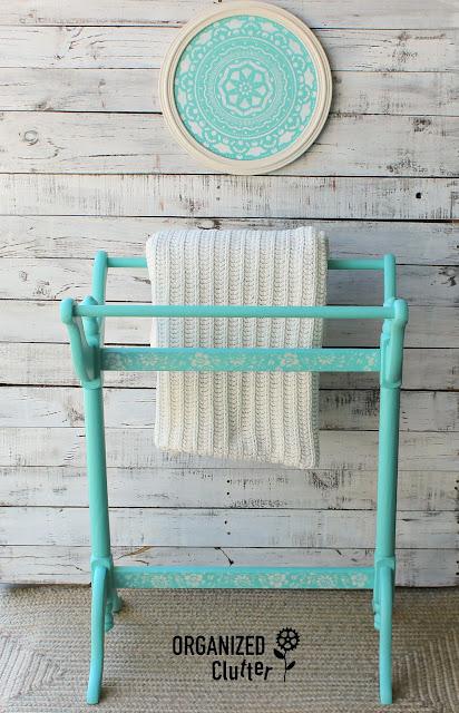 25 Cent Garage Sale Quilt Rack Makeover #dixiebellepaint #stencil #garagesalefinds #upcycle #makeover