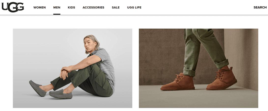 UGG Australia の公式通販サイトトップページ画像