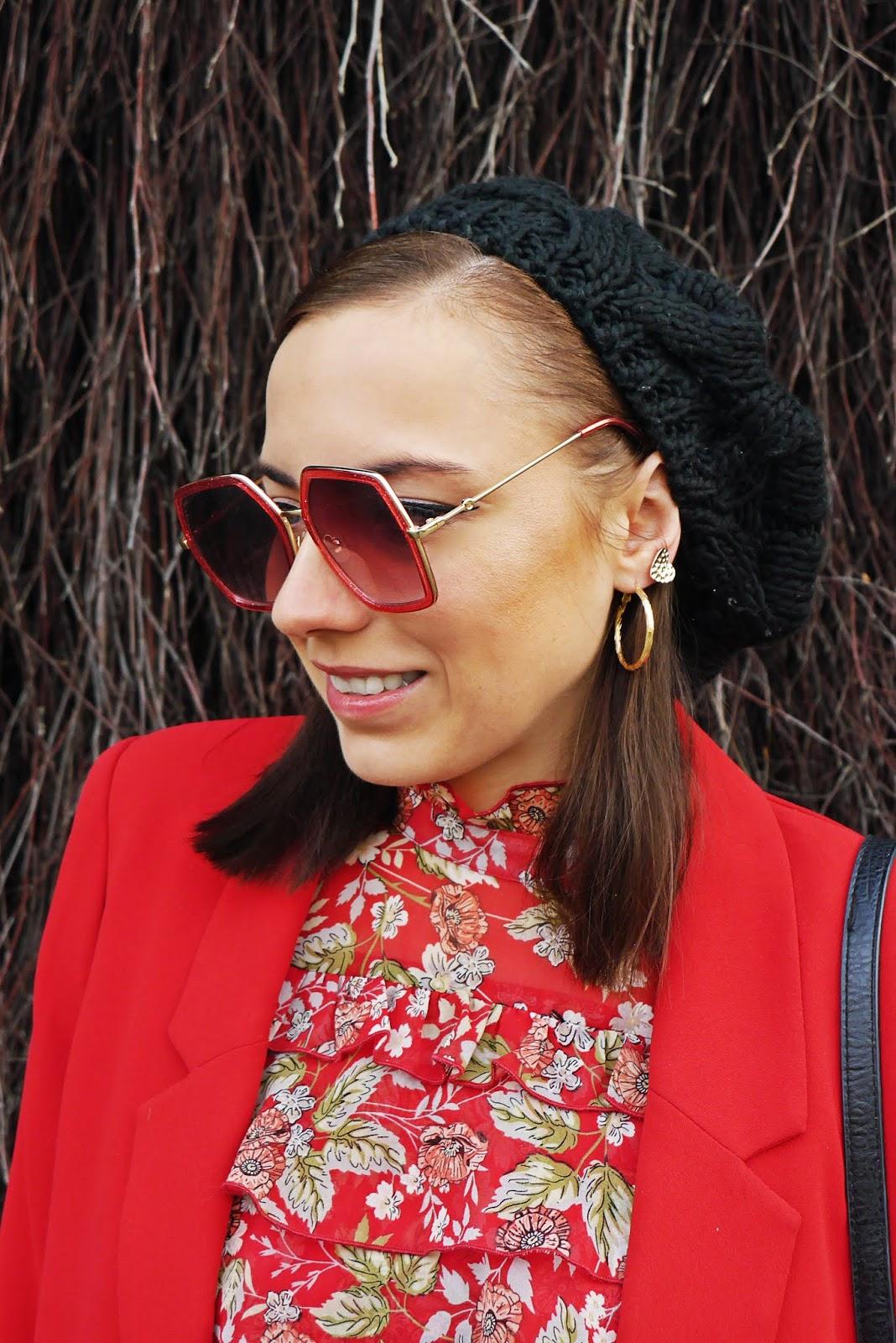 floral dress bonprix red jacket black high knee boots renee karyn fashion blogger