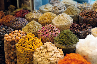 Spices for sale at the Spice Souk, Dubai, UAE
