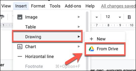 اضغط على إدراج> رسم> من Drive لإضافة رسم رسومات Google إلى مستند مستندات Google
