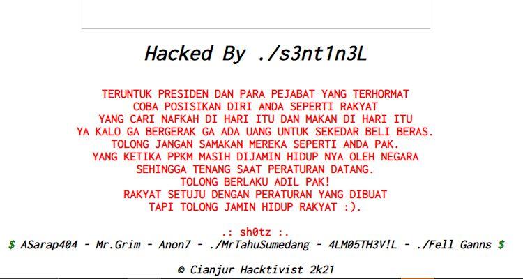 Website Tahura Djuanda Diretas, Pelaku Tulis Pesan untuk Jokowi: Tolong Berlaku Adil Pak! Jamin Hidup Rakyat!