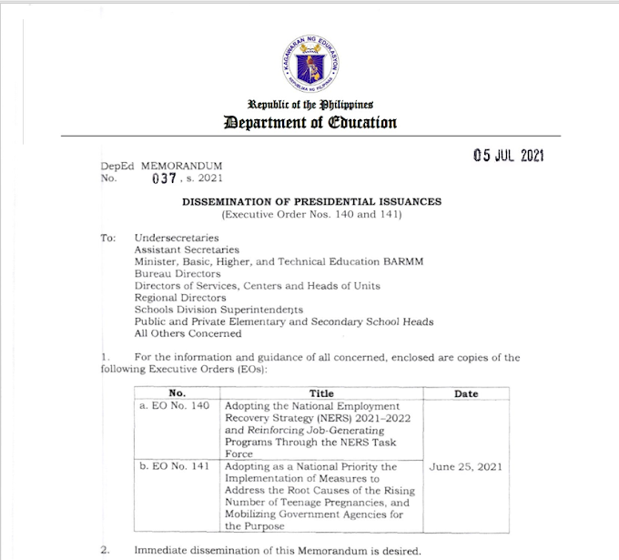 DM No. 037 s, 2021: DISSEMINATION OF PRESIDENTIAL ISSUANCES (Executive Order Nos. 140 and 141)