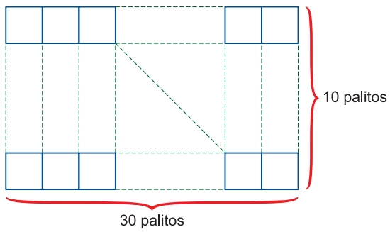 (FGV-SP 2020) A figura indica uma configuração retangular feita com palitos idênticos.