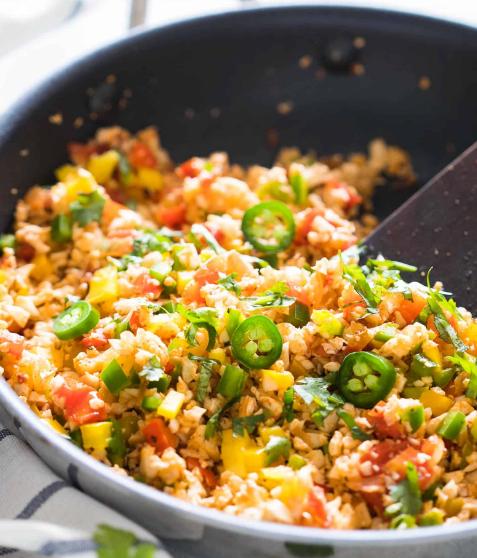 Low Carb Mexican Cauliflower Rice #cauliflower #dinner #vegan #vegetable #mexican