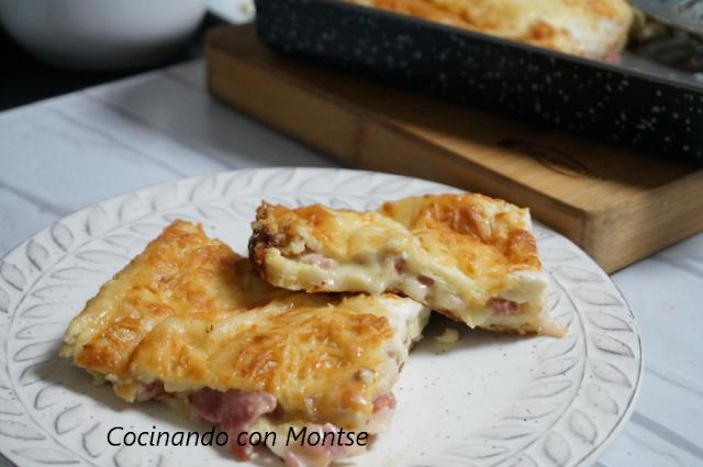 Pastel al horno con bacon y queso
