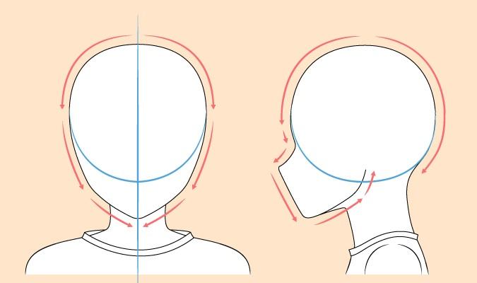 Menggambar kepala anak anime