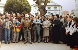 José Antonio Varela Veiga na inauguración da placa conmemorativa ao escritor Antonio García Hermida.