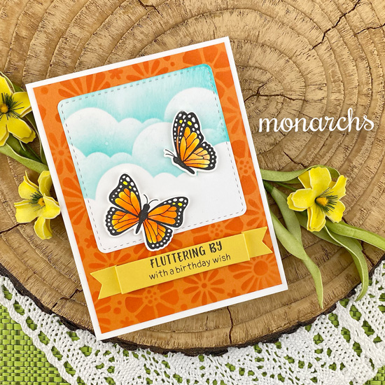Butterfly Birthday Card by Jennifer Jackson | Monarchs Stamp Set, Banner Trio Die Set, Clouds Stencil and Bold Blooms Stencil by Newton's Nook Designs  #newtonsnook #handmade