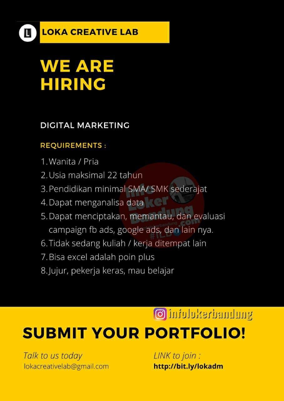 Lowongan Kerja Loka Creative Lab Bandung Maret 2021
