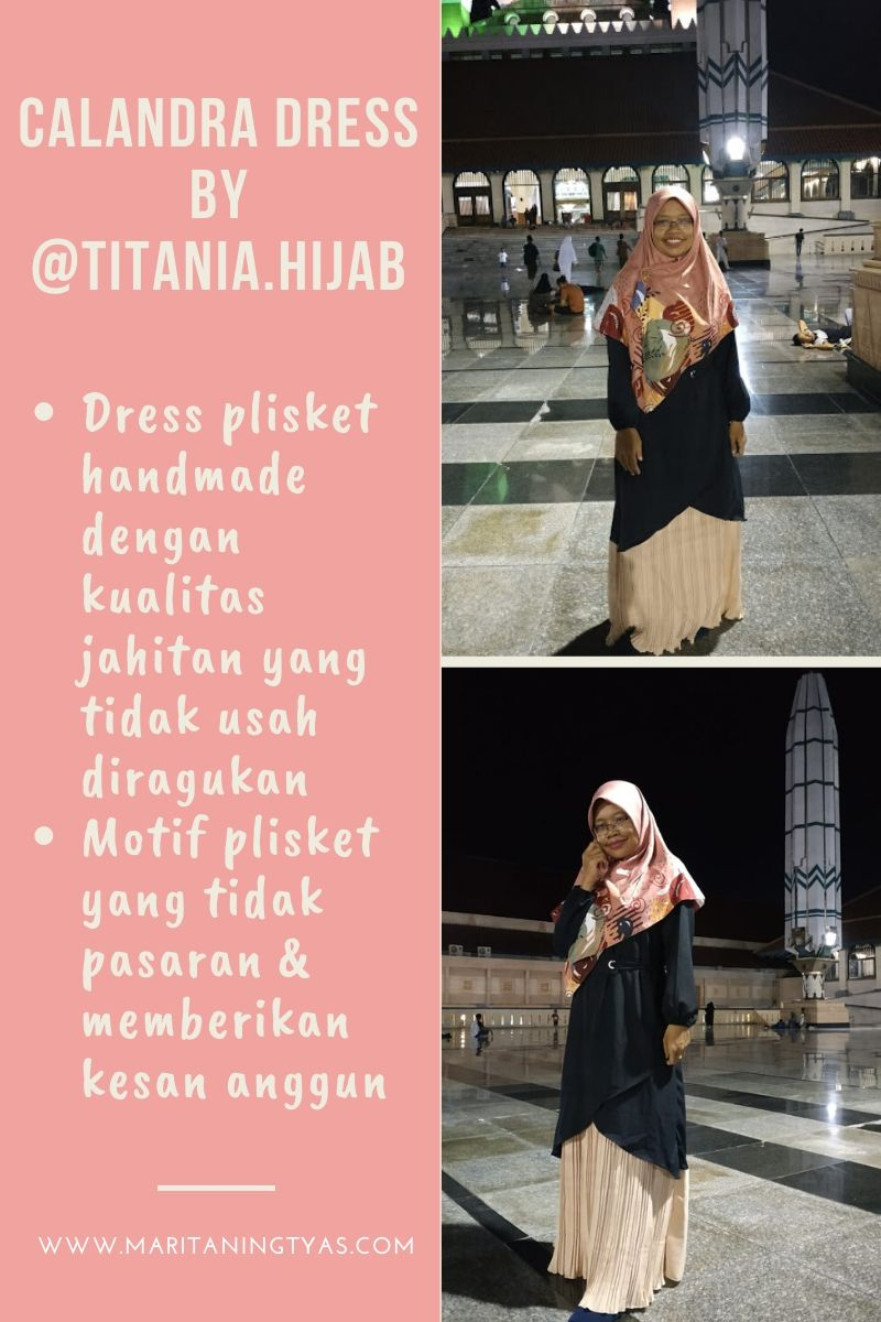 spesifikasi gamis calandra dress @titania.hijab
