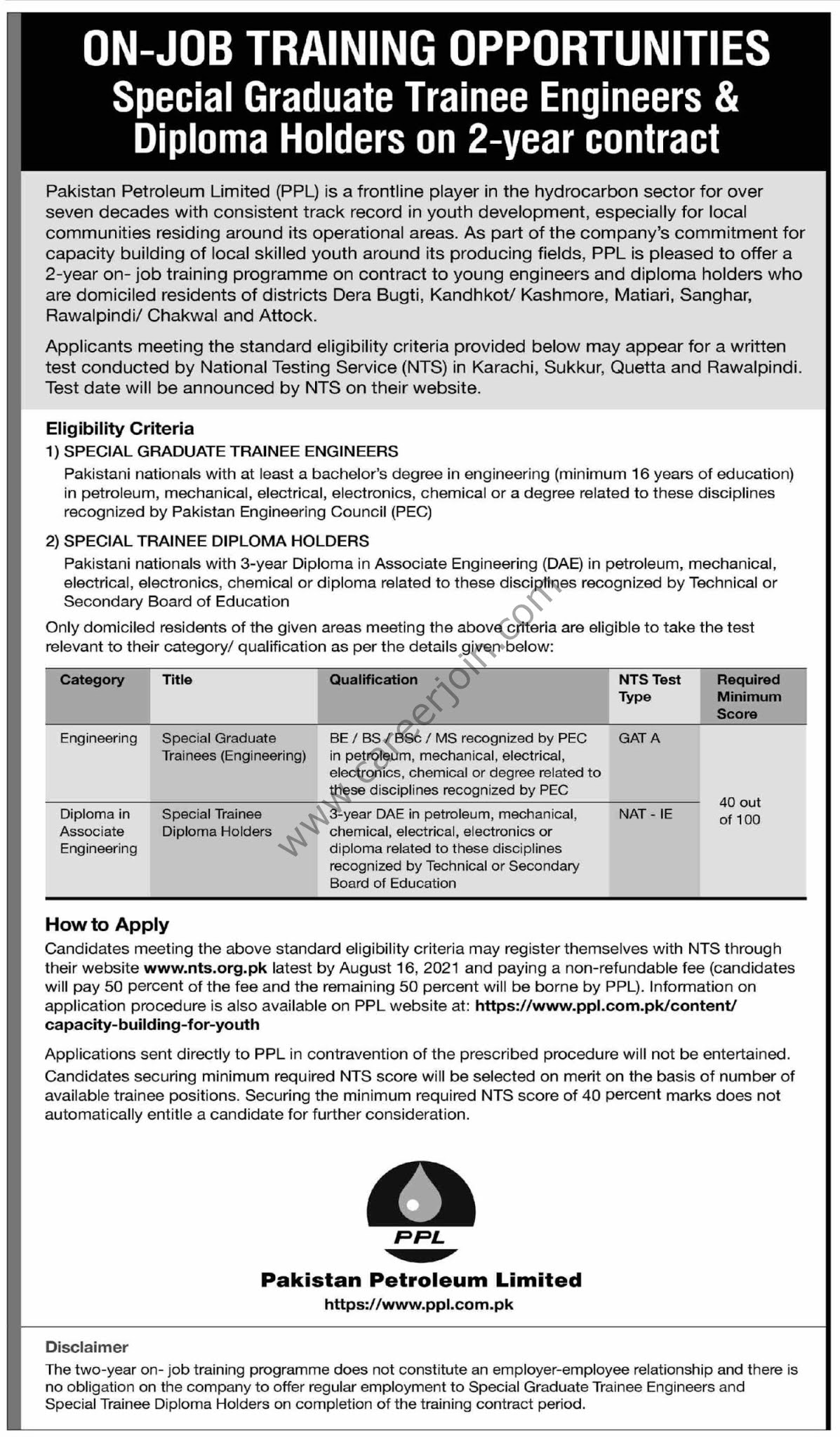 Pakistan Petroleum Ltd On Job Training Programme 2021