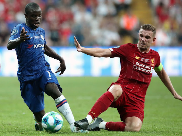 Liverpool captain Jordan Henderson tackles Chelsea's Ngolo Kante during the 2019 UEFA Super cup