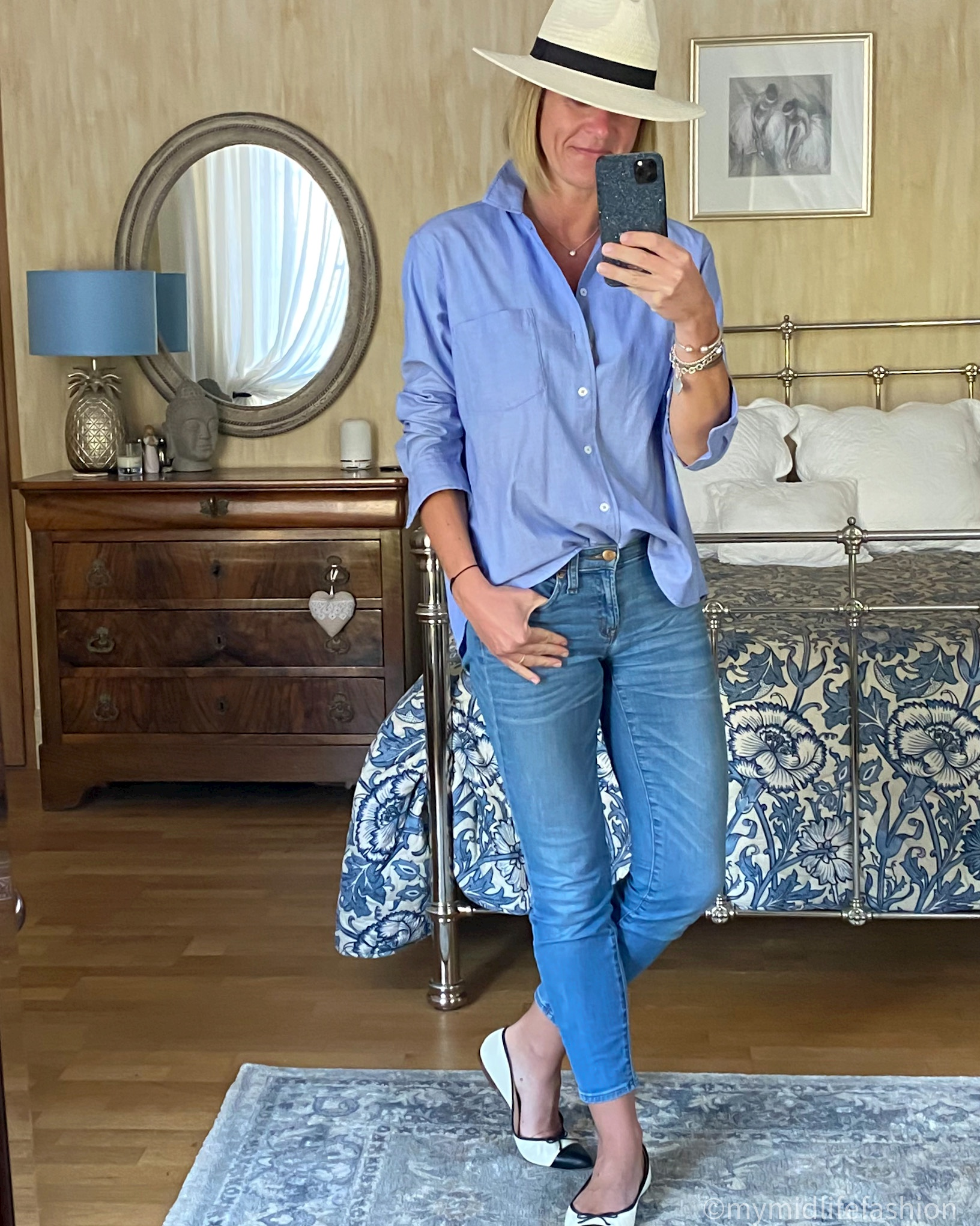 My midlife fashion, Zara Panama hat, Zara chambray shirt, j crew 8 inch toothpick jeans, j crew two tone ballet flats