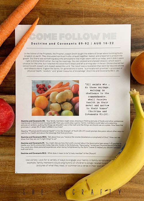 Printed Come Follow Me study sheet with fruit.