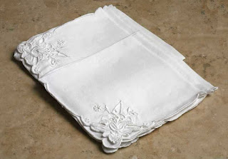 Set of 7 Vintage White Embroidered Luncheon Napkins