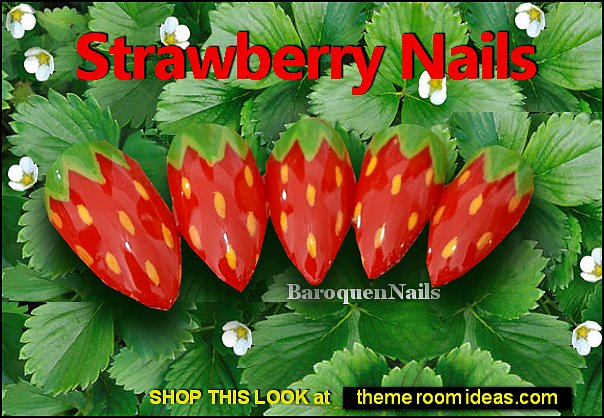 Strawberry Nails Juicy Fruit Nails Green Leaf Nails Summer False Nails