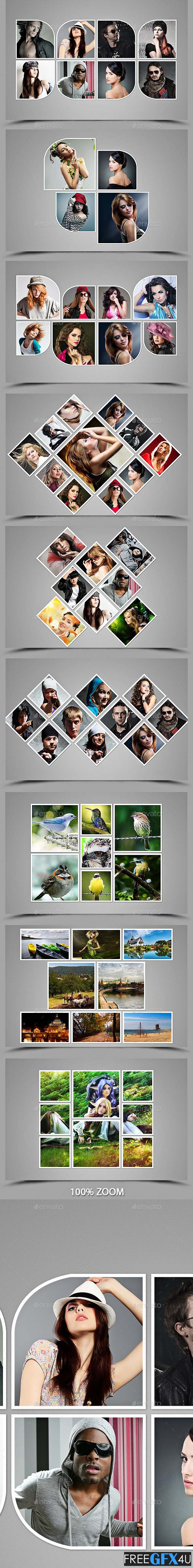 3 Collage Photo Frame PSD Template Bundle