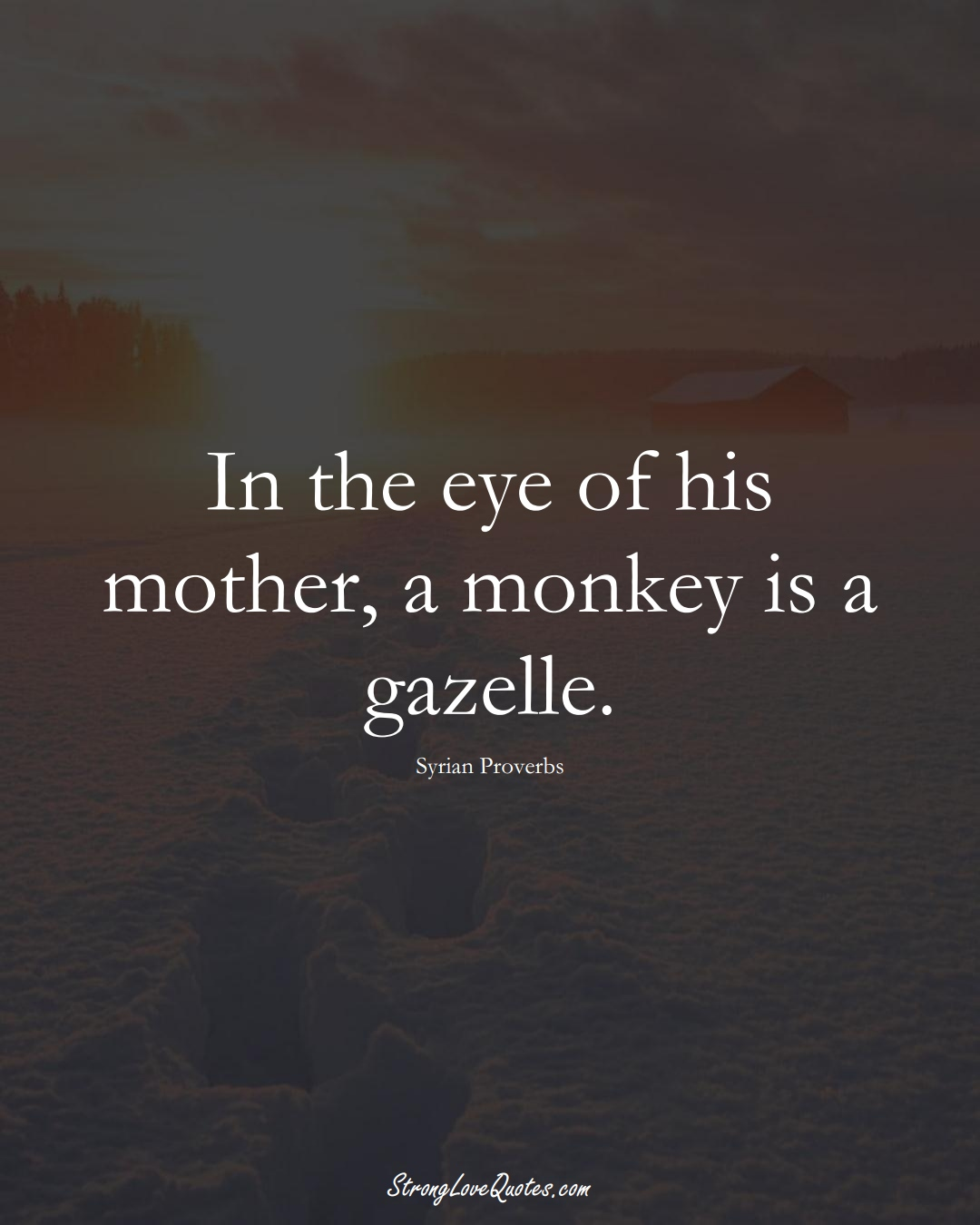 In the eye of his mother, a monkey is a gazelle. (Syrian Sayings);  #MiddleEasternSayings