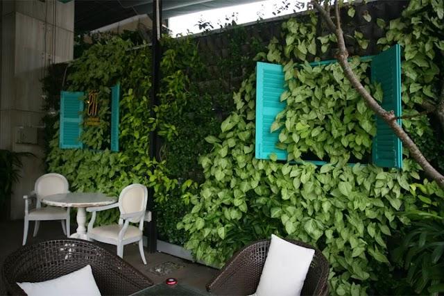 Coffee shop with green leafy walls in Saigon